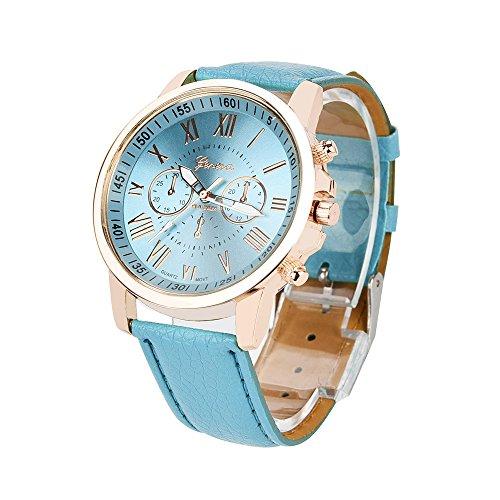 レディース腕時計、女性ジュネーブローマ数字模造革アナログクォーツ時計