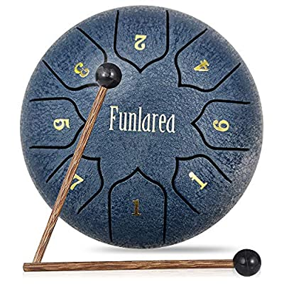Steel Tongue Drum 8 Notes 6 Inches Tongue Steel Percussion Padded Travel Bag and Mallets,Music Education Yoga Conference Office Home Music Score(Navy)