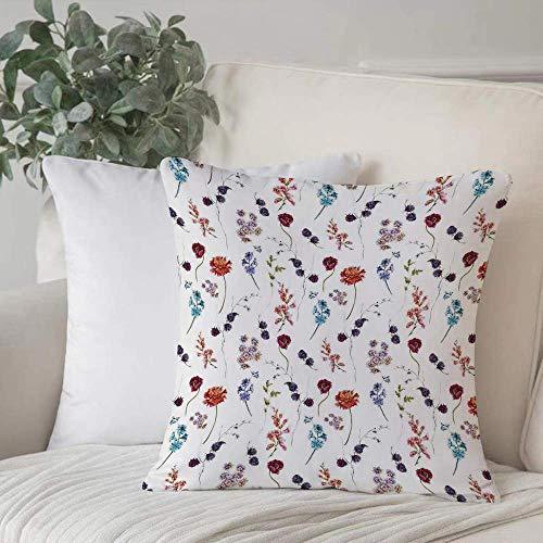 Qoqon Funda de almohadaFlower, Vintage Acuarela Cojín Azul Bulk Poppy Chrysanthemum Bellflower y BlaHome Decor Funda de cojín Cozy Square para sofá Funda de Almohada