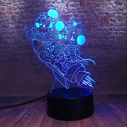 NJIUHB Nachtlicht, 3D Space-Maus Astronaut Rakete Action-Figur 7 Farbe Nachtlichter Jungen-Schlafzimmer-Dekoration for Kinder Weihnachtsgeschenke