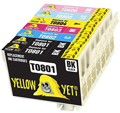 Yellow Yeti Ersatz für Epson T0807 T0801 T0802 T0803 T0804 T0805 T0806 7 Druckerpatronen kompatibel für Epson Stylus Photo P50 PX720WD PX700W PX800FW PX810FW PX820FWD PX830FWD PX650 PX710W R285 RX585