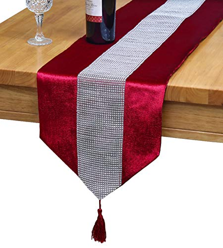 OZXCHIXU(TM 13inch x 72inch Table Runner with Diamante Strip and Tassels (red)