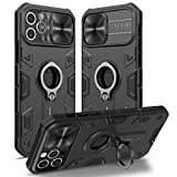 Nillkin iPhone 12 Pro Max Military Grade Case, CamShield Armor Case with Rotate Kickstand Ring Stand and Slide Camera Lens Cover, Impact-Resistant, Shockproof - Black