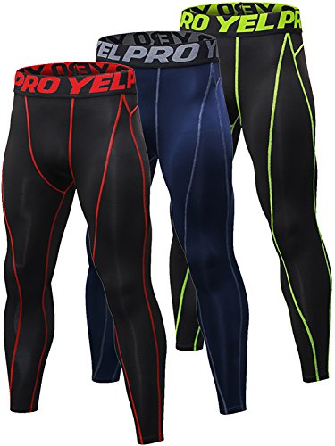 Yuerlian Pantalones de compresión para hombre Baselayer Cool Dry Medias deportivas Leggings Running Medias - 1060, suave, XXL, 1-negro rojo