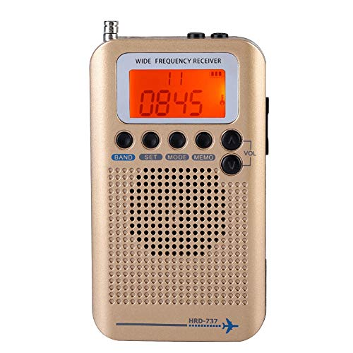 Air Band Radio Receiver AIR FM AM CB SW VHF Full Band Hand-held Aircraft Digital Travel Radio with Extended Antenna Build in Battery Wide Frequency LCD Display with Alarm, Earphones (Brass)