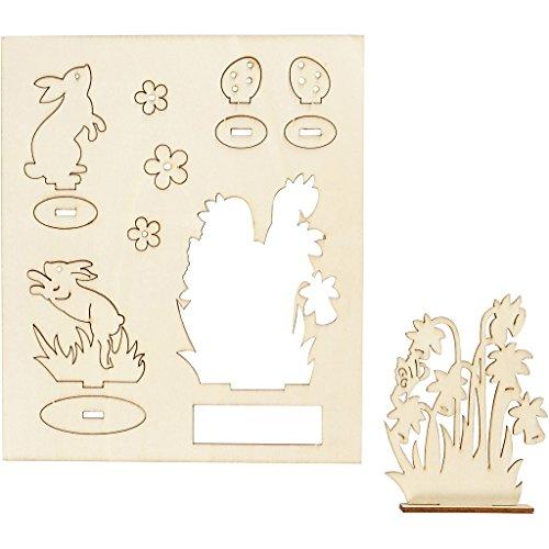 Holz-Figuren zum Aufstellen, Häschen und Blumen, L 20 cm, B 17 cm, Sperrholz, 1Pck., Stärke: 3 mm