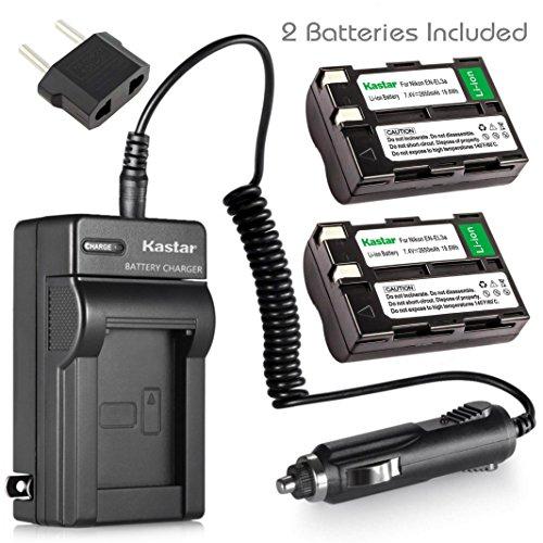 Kastar 2 Pack of 2650mAh EN-EL3 ENEL3 EN-EL3A ENEL3A Li-ion Battery + Battery Charger for Nikon DSLR D50 D70 D70s D100 Digital Camera