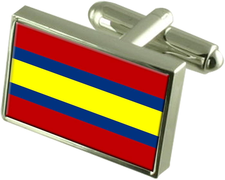 Loja City Ecuador Flag Cufflinks Engraved Box