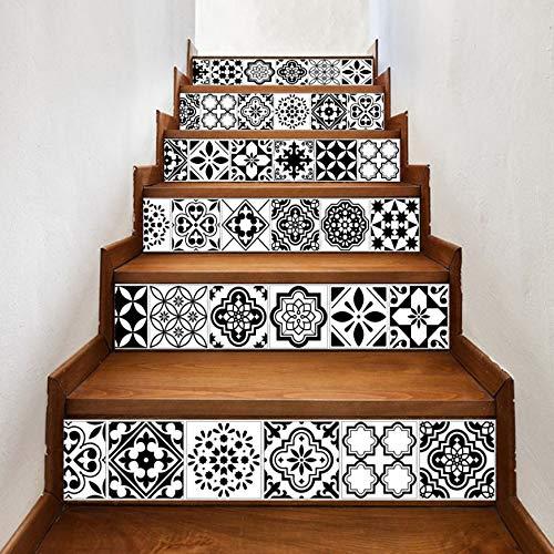 Stickers Escalier Style Noir Et Blanc Tuile D'Arabie 13Pcs / Set 18Cm X 100Cm Escaliers Décoration 3D Autocollant Art Pegatinas De Pared Décor À La Maison Mur