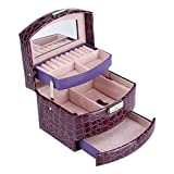 Zerodis PU Leather Jewellery Box,3 Layers Compartment Necklace Ring Earrings Organizer Lockable Storage Case with Mirror Storage Drawers for Lady Gift Home Supplies(Purple)
