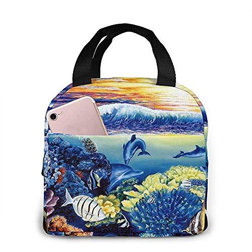 Lunchpaket, wiederverwendbare Bento-Box-Handtasche für Schwimmdelfin, warme und kühle Speisen