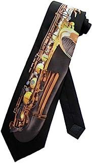 Parquet Mens Saxophone Sax Music Instrument Necktie - Black - One Size Neck Tie