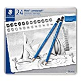 Staedtler Mars Lumograph Art Drawing Pencils, Graphite Pencils in Metal Case, Break-Resistant Bonded Lead, Grades 12B-10H, Set of 24, 100