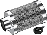 Auertech 4 Inch Air Carbon Filter, Odor Control with Australia Virgin Charcoal Tent Grow Plants Filter with Pre-Filter, Reversible Flange, for Inline Fan, Grow Tent, Odor Scrubber, Sliver