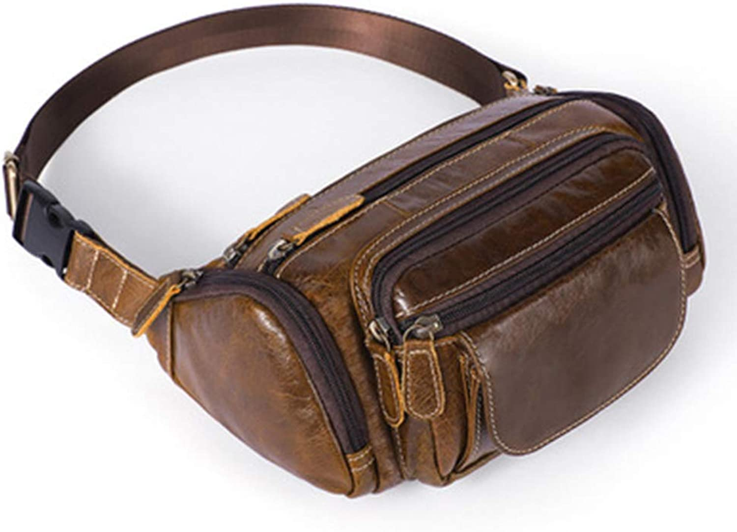 Multi Functional Waist Pack,Retro Large Capacity Outdoor Waist Pack First Layer Cowhide Men's Purse Crossbody Shoulder,oilcoffee