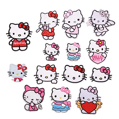14Pack Toppe Toppa Hello Kitty, Ricamati Patch per Jeans Vestiti