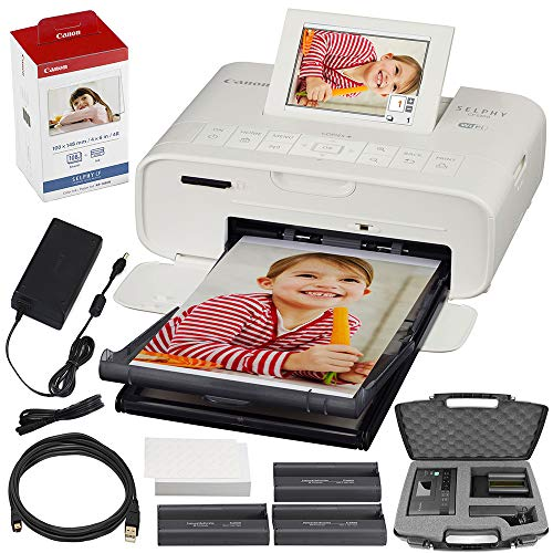 Canon SELPHY CP1300 Compact Photo Printer (White) with WiFi w/Canon Color Ink and Paper Set + Case + More