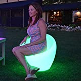 Main Access 131786 LED Color Changing, Solar Powered Stool and Weatherproof Chair with Universal Remote and 24 Different Color Settings for Outdoors