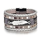 Stacked Braided Leather Wrap Bracelet Boho Style Cuff Bangle for Teengirls Multilayer Feather Magnetic Buckle Stackable Friendship Bracelets for Women Girlfriend