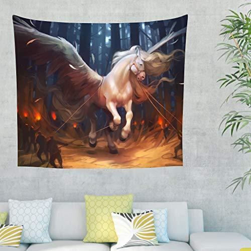 CATNEZA Pegasus, Horse, Wings, Myth Wand aufhängen Horse Comforter Throw Bedspread, Landschaft Tapisserie Dekoration für Bed Dorm Decor White...