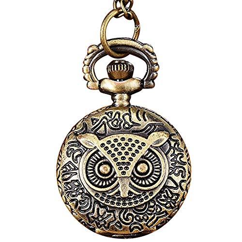 Homeofying Vögel/Turm/Eule/Blume Vintage Bronze Anhänger Halskette Kette Quarz Taschenuhr Taschenuhr 13#