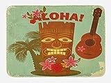 Lunarable Vintage Hawaii Bath Mat, Retro Hawaiian Image Floral Elements Guitar and Palm Trees, Plush Bathroom Decor Mat with Non Slip Backing, 29.5' X 17.5', Almond Green