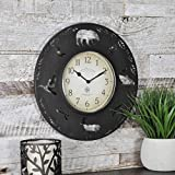 Decorativo rústico reloj de pared con Wildlife Cut Out siluetas 33 cm