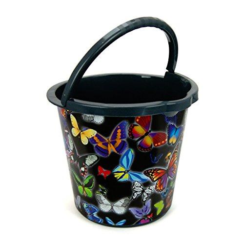 10 Liter Eimer schwarz/Bunte Schmetterlinge mit Auslauf