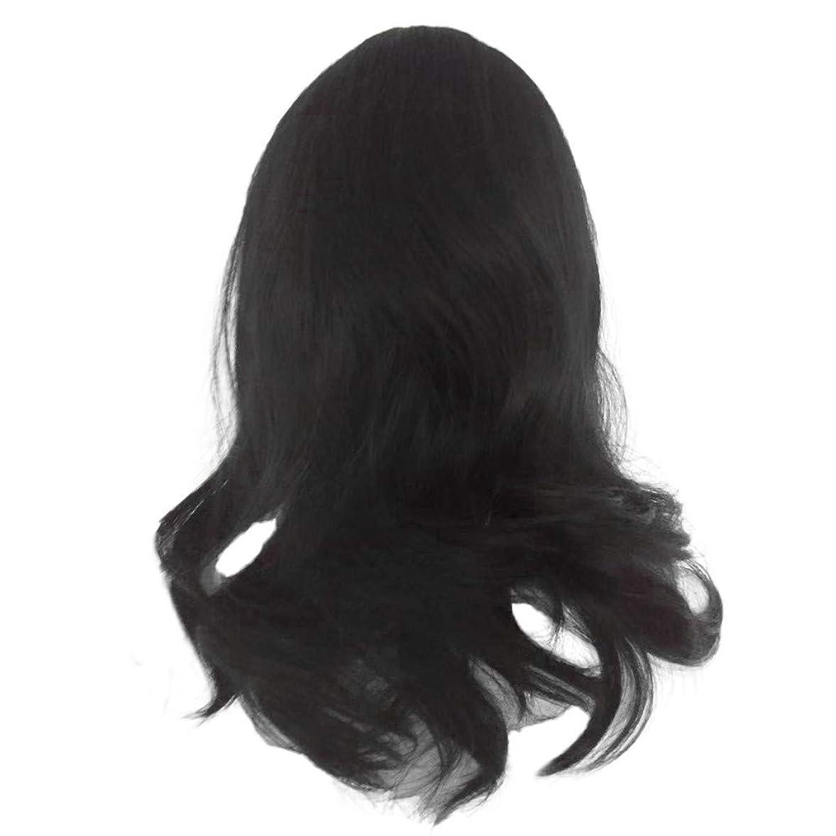 完全に乾く行神話黒の長い巻き毛のかつら高温シルク天然かつら