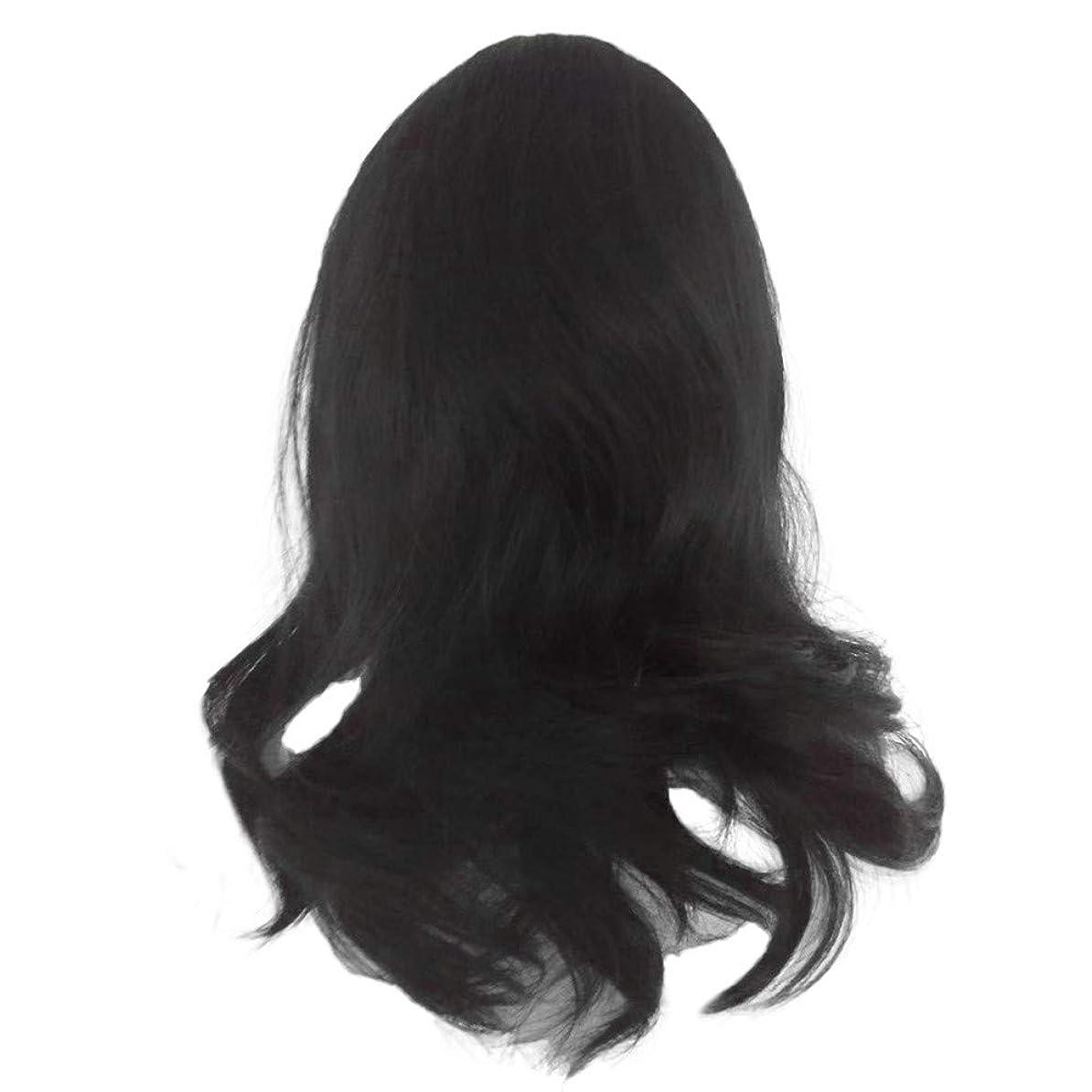 相談する引退する問い合わせる黒の長い巻き毛のかつら高温シルク天然かつら