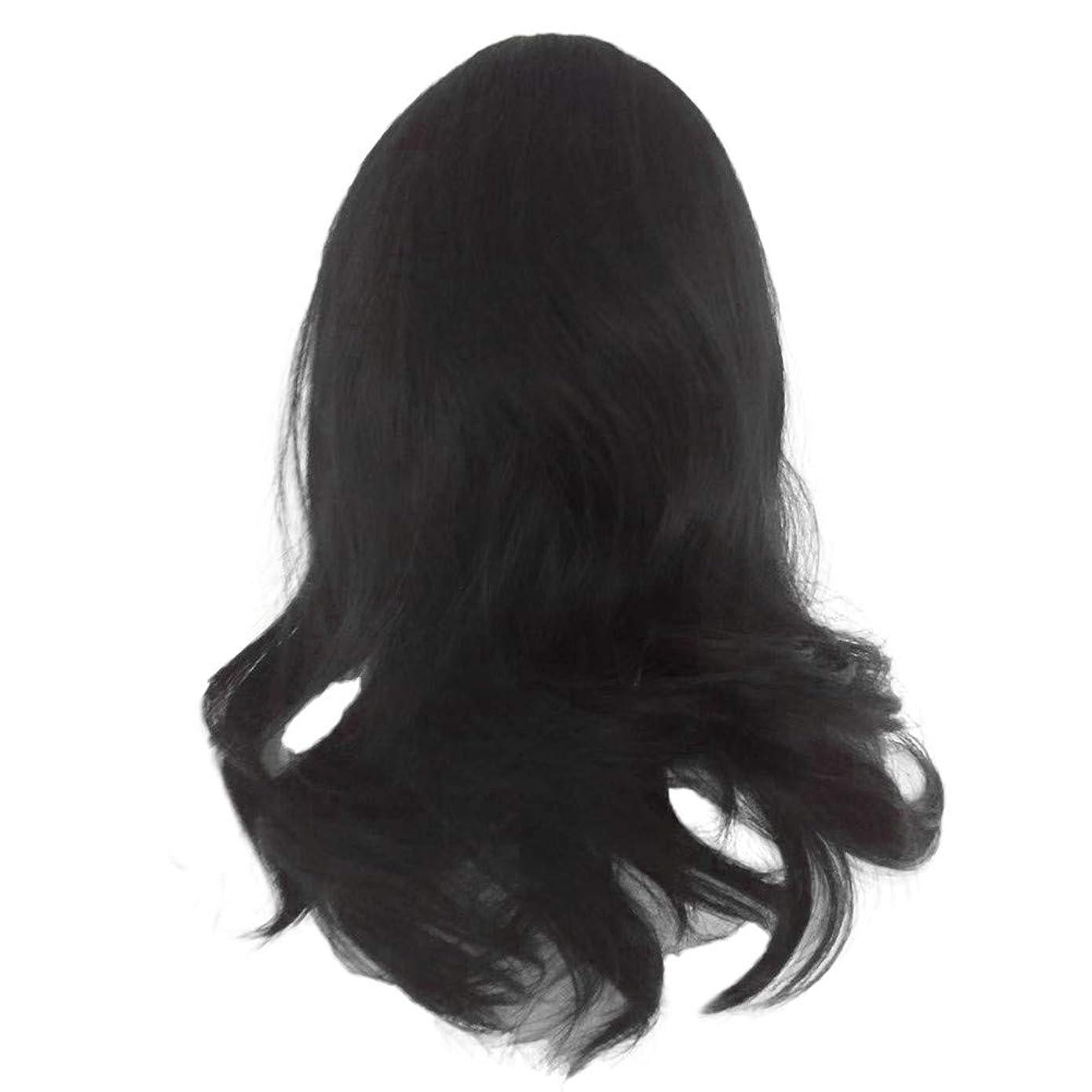 支配的簡単に模索黒の長い巻き毛のかつら高温シルク天然かつら