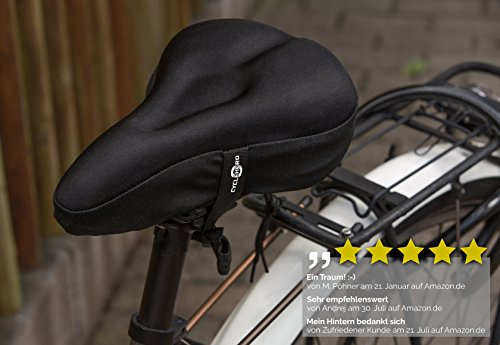 Schmaler Sattelbezug (28 x 18cm) Gelsattelbezug Fahrrad mit Sicherheitsband – Weicher Sattelüberzug für Mountainbike, Rennrad, E-Bike – Mountainbike Zubehör für Herren & Frauen – Fahrrad Sattelbezug - 5