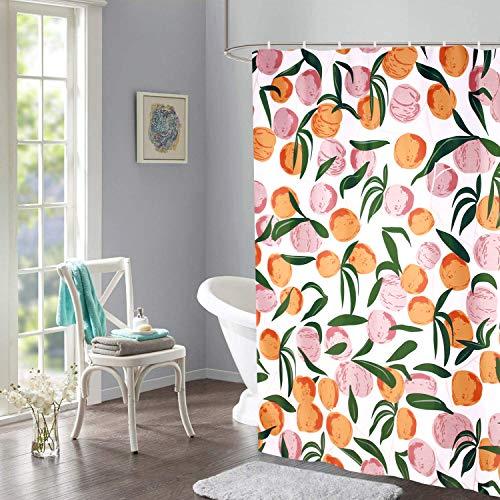 Rosa Pfirsich-Duschvorhang mit 12 Vorhangringen, einfaches modernes wasserdichtes Polyester-Badezimmerdekor-Stoffset, beinhaltet 12 Haken, farbecht, wasserdicht, 180 * 180 cm