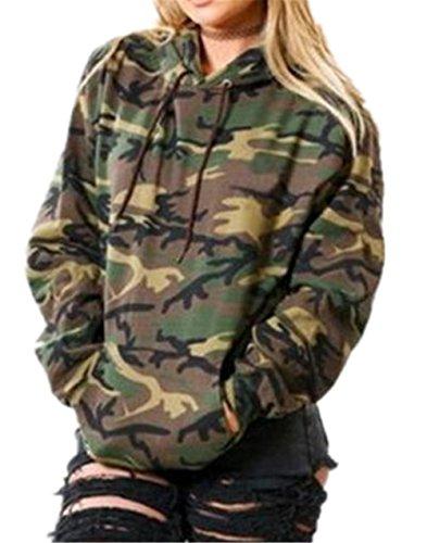 Kerlana Damen Tops Drucken Sweatshirt Camouflage Militär Kapuzenpullover Bluse Lange Hülse Mit Kapuze Pullover Bluse Streetwear Übergangs Jacke Parka