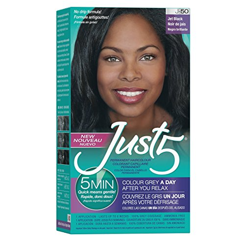 Just 5 Women's 5 Minute Permanent Hair Color with Conditioner, Grey Hair Coloring for Women - Jet Black
