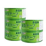 ADHES 養生テープ 緑 ガムテープ はがせる 緑 台風 窓ガラス用 50mmⅹ25m 5巻入り