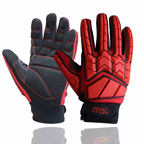 Anti Vibration Gloves, SBR Padding, TPR Protector Impact Gloves, Men Mechanic Work Gloves (Medium)