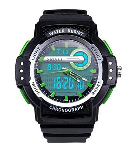 ZXZ-GO Sportuhr-Wasserdichte Uhr PU-Bügel-elektronische Bewegung + Quarzwerk 30 Meter imprägniern Stoppuhr-Chronograph-Alarm-Kalender, Green
