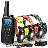 F-color Dog Training Collar, Range 2600ft Dog Shock Collar with Remote Rechargeable Waterproof with 4 Modes Light Beep Vibration Shock Collar for Medium Large Dogs Breed, 3 Pack