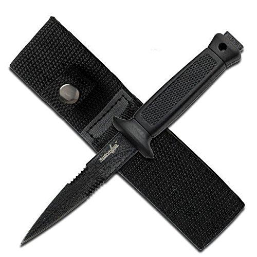 Jaschigo Survivor - Überlebensmesser - feststehendes Messer - schwarz - gesamt 16,5 cm - Edelstahl