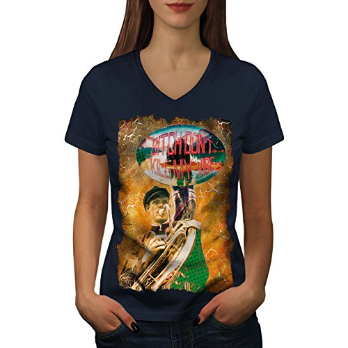 wellcoda Dont Töten Meine Stimmung Mode Frau V-Ausschnitt T-Shirt Nicht Grafikdesign-T-Stück