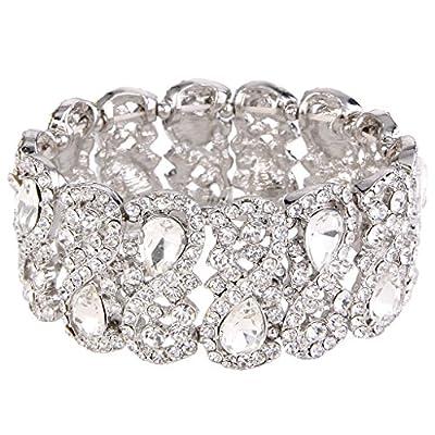EVER FAITH Women's Austrian Crystal Teardrop 8-Shaped Knot Elastic Stretch Bracelet Clear Silver-Tone