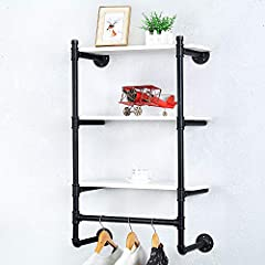 Industrial Pipe Clothing Rack Wall Mounted Real Wood Shelf,Pipe Shelving Floating Shelves Wall Shelf,Rustic Retail Garment Rack Display Rack Cloths Rack,SteamPunk Commercial Clothes Racks(3 Tier,24in) #5