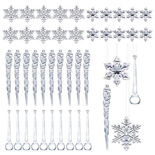 40 Pz Decorazioni L'Albero di Natale,Natale Ghiaccioli Ornamenti Set Includono Ghiaccioli Acrilici Fiocchi di Neve Stalattiti Gocce d'Acqua per Appendere su Alberi di Natale Bianco o Finestre