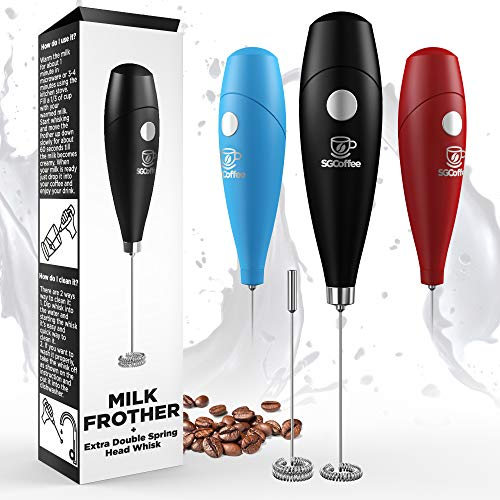 Milk Frother - Coffee Frother Electric Whisk - Powerful Latte Cappuccino Frother Wand – Hot Milk Foam Maker - Best Soya Milk Mixer - Free eBook - Extra Whisk Worth £3.97