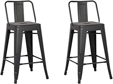 HomeRoots Metal Barstool with Back, Matte Black, 24 -inch, Set of 2