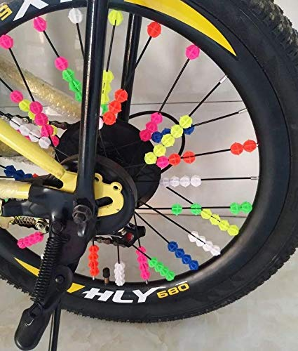 Happyupcity 1Bag of 36PCS Random Color Plastic Bicycle Spoke Beads Bike Tire Decorations Ornament Wheel Line Beads Small Bicycle Accessories for Wheelbarrow Children Kids Bicycle