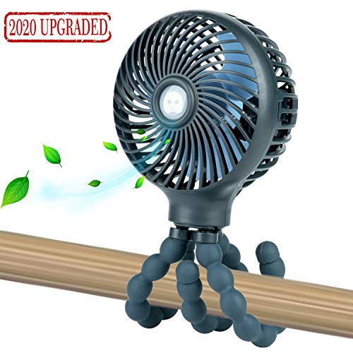 Mini Handheld Personal Portable Fan, Baby Stroller Fan, Car Seat Fan, Desk Fan, with Flexible Tripod Fix on Stroller/Student Bed/Bike/Crib/Car Rides, USB or Battery Powered (Dark Blue)