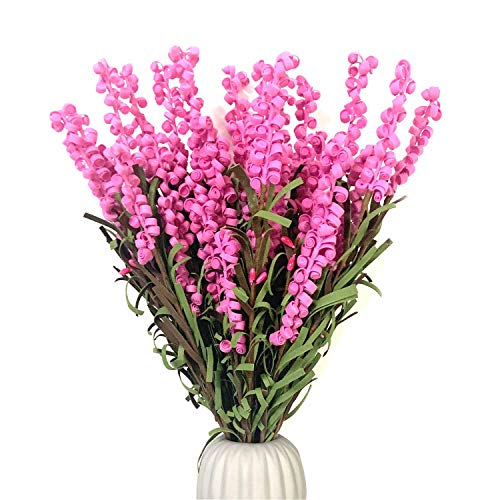 Pursuestar 5Pcs 42CM Artificial Flower Lavender Folk Pip Berry Plant Dry Branches for DIY Wedding Home Office Party Table Vase Christmas Decoration - Hot Pink