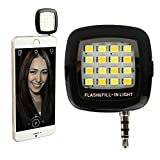 Universal Mini LED Selfie Camera Flash Light,ZREALBANG Enhancing Dimmable Spotlight Fill-in 16 LED Speedlite Night Light For Apple iPhone,iPad,Android,Samsung,Tablets (black)
